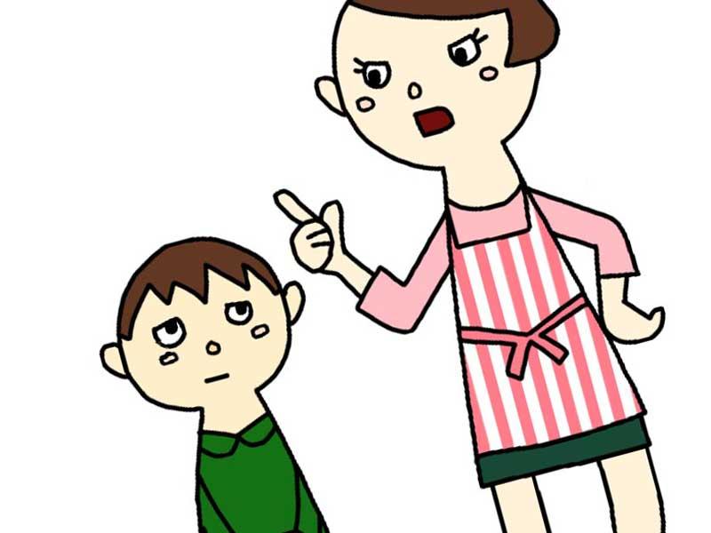 男の子を注意するお母さんのイラスト