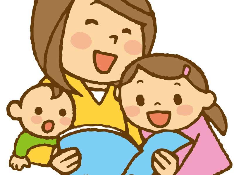 子供に絵本を読み聞かせるお母さんのイラスト
