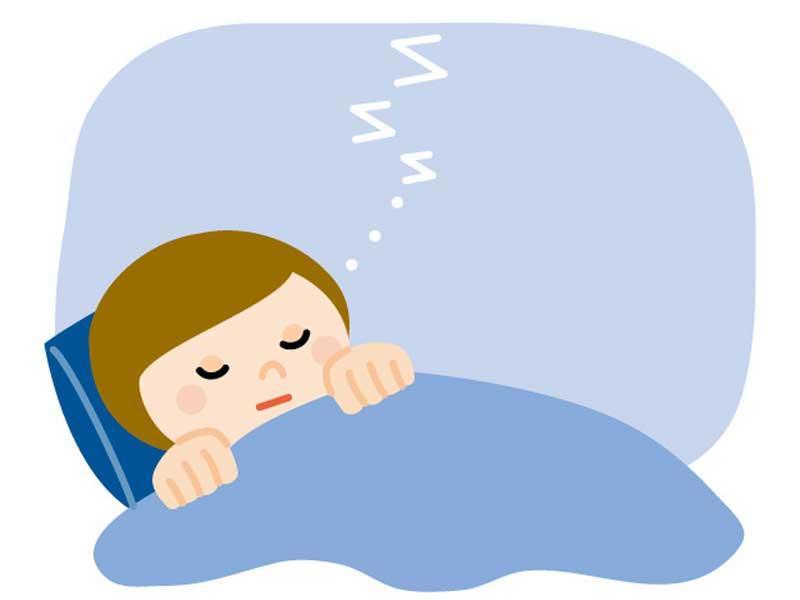 冬の夕日 寝ている女性のイラスト