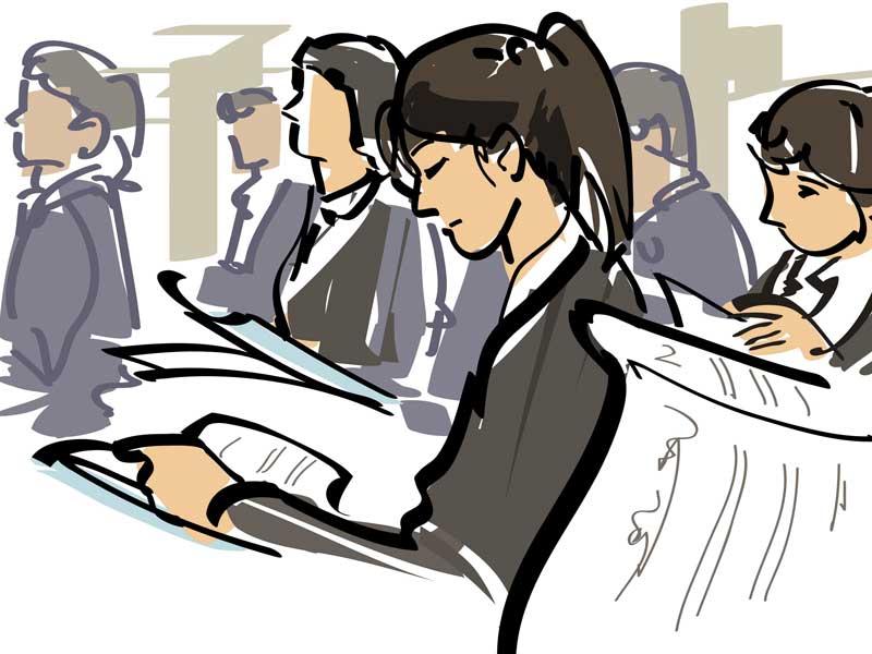 就職活動で説明会に参加している人達のイラスト