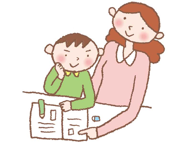 子供の宿題を見るお母さんのイラスト