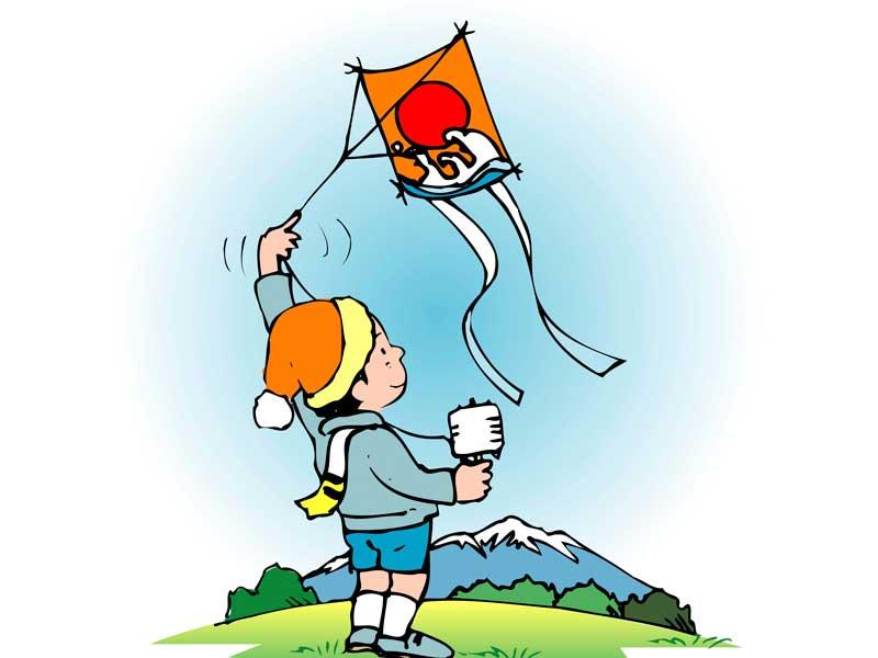 凧揚げをしている子供のイラスト