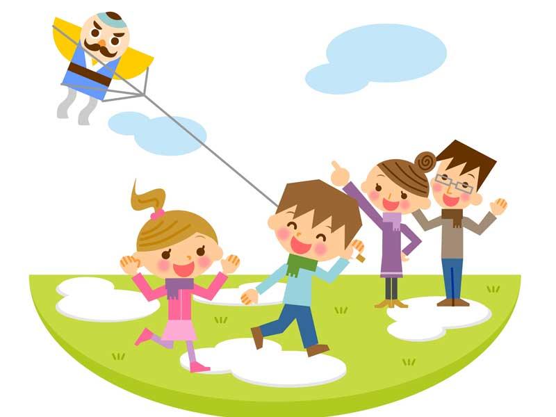楽しく凧揚げする家族のイラスト
