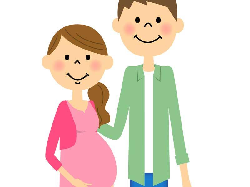 妊娠してるママとパパのイラスト