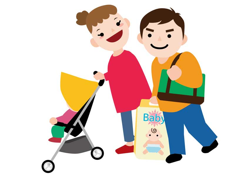 赤ちゃんと買い物をしてる家族のイラスト