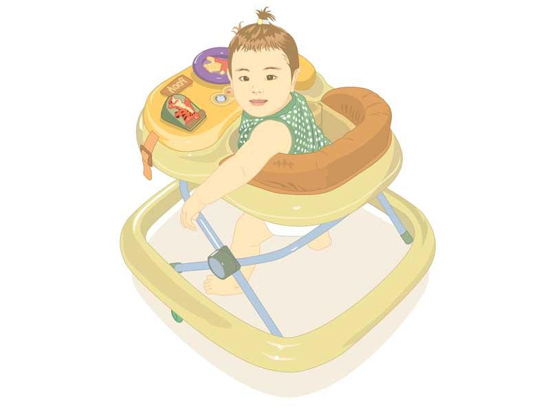 歩行器に乗っている赤ちゃんのイラスト