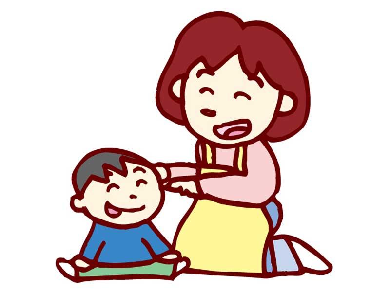 保育園の先生と男の子のイラスト