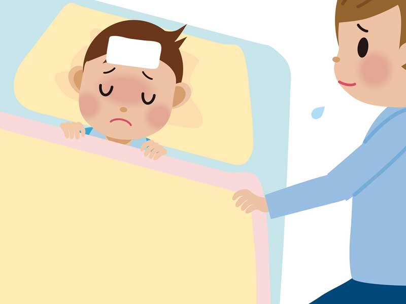 寝ている赤ちゃんを見つめるママのイラスト