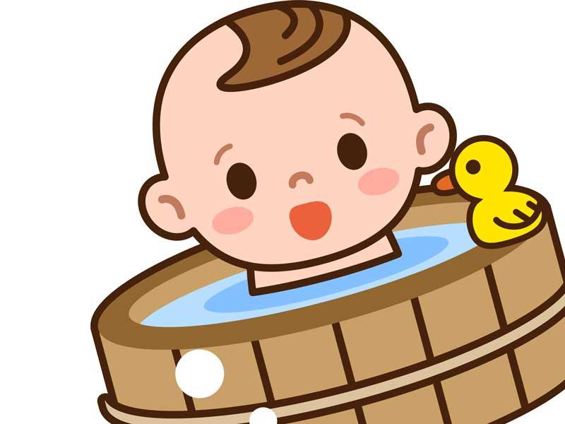 お風呂に入る赤ちゃんのイラスト