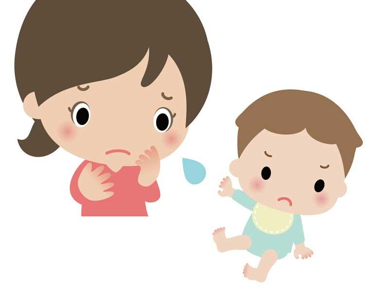 嫌がる赤ちゃんと困っている母親のイラスト