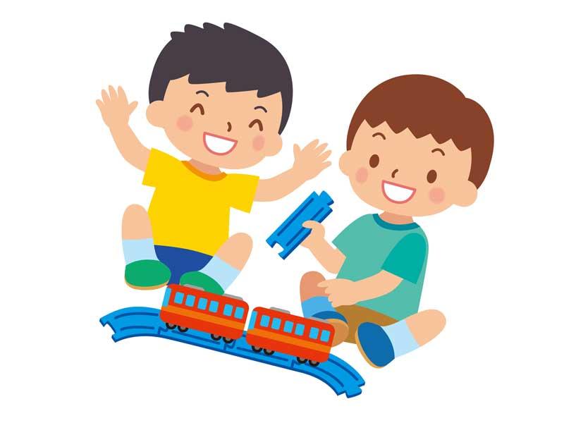 電車のおもちゃで遊ぶ子供達のイラスト