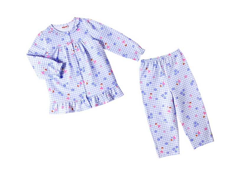 リーナちゃん♪フリル付き長袖チェックパジャマ