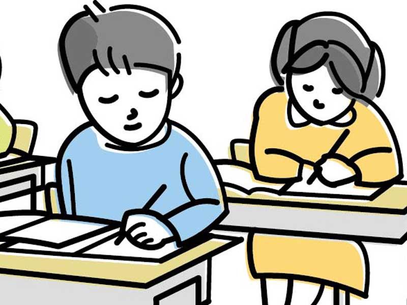 授業を受ける子供達のイラスト
