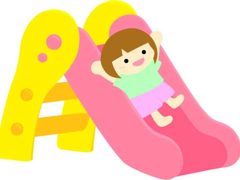滑り台で遊ぶ女の子のイラスト