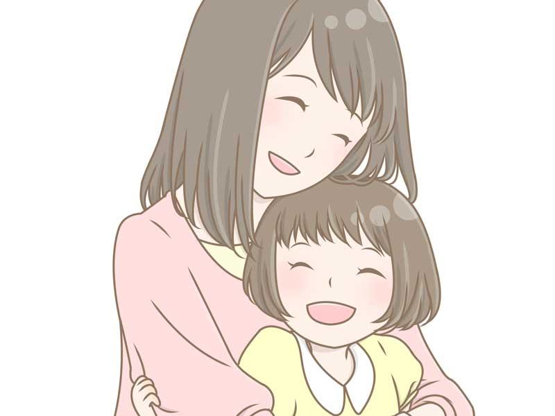 ママに抱っこされる女の子のイラスト