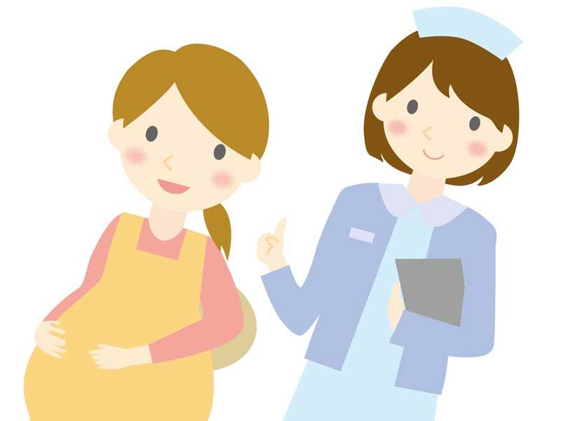 妊婦さんと看護婦さんのイラスト