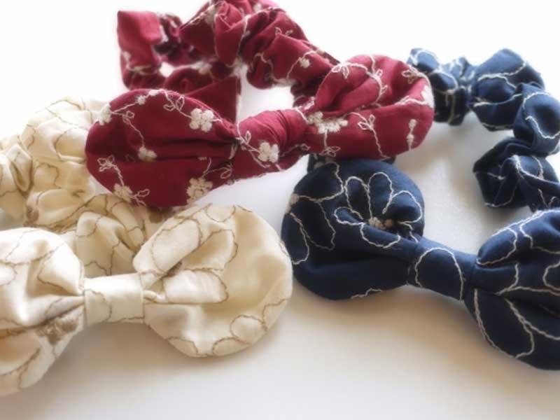小花刺繍ファブリックリボンヘアバンド