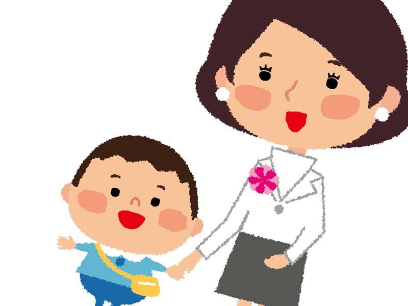幼稚園の入園式に参加する親子のイラスト