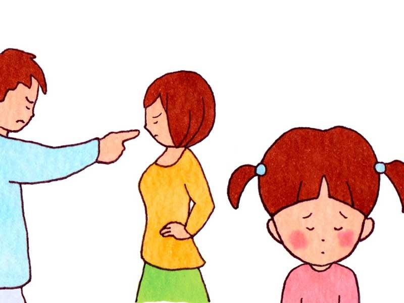 夫婦喧嘩と子供のイラスト