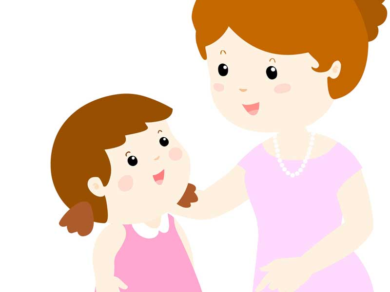 子供の話を聞くママのイラスト