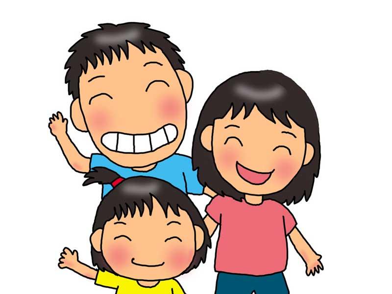 笑顔の三人家族のイラスト