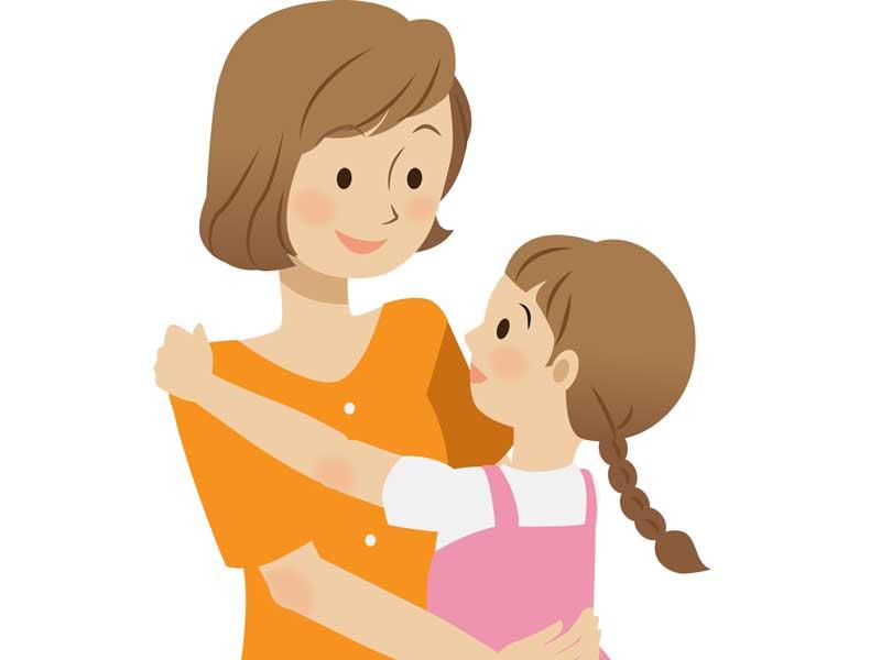 子供の話を聞くお母さんのイラスト