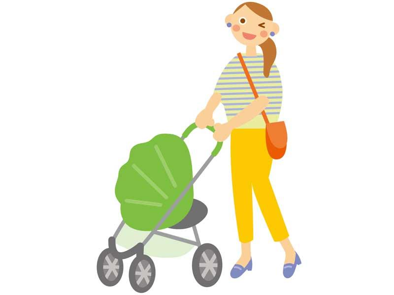 ベビーカーでお散歩する親子のイラスト