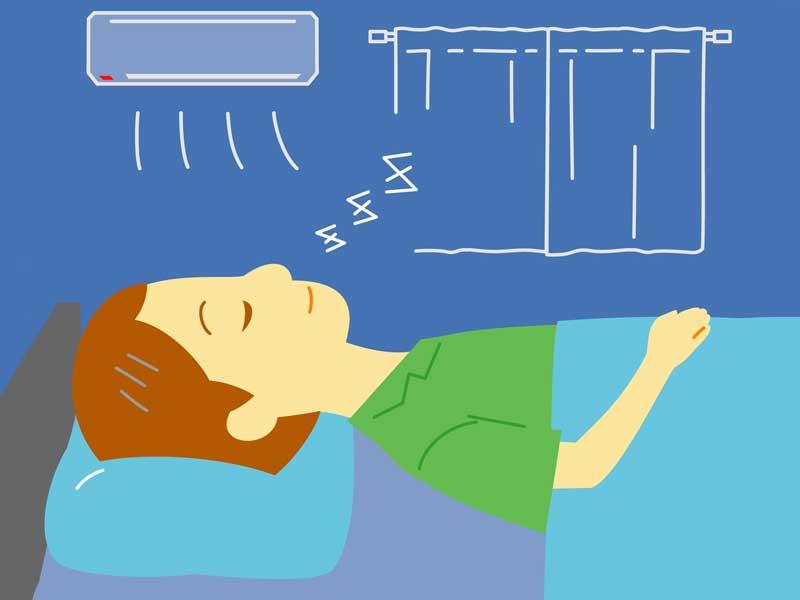 エアコンをつけた部屋で寝る男の子のイラスト