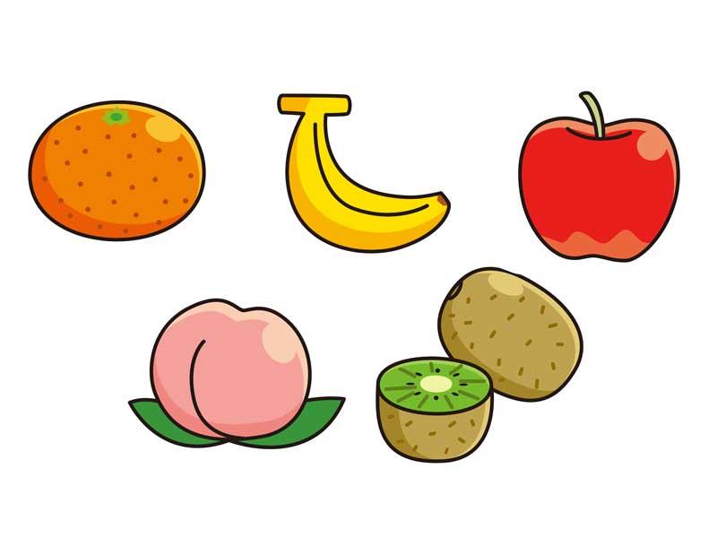 食物アレルギーの原因となる果物のイラスト