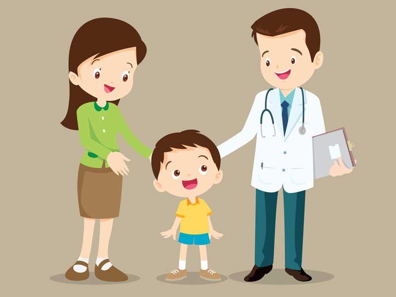 医師と相談する親子のイラスト