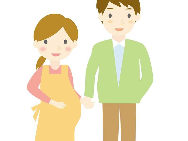 妊娠しているママとパパのイラスト