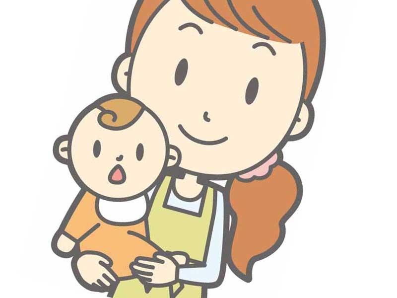 赤ちゃんを抱っこする保育士のイラスト