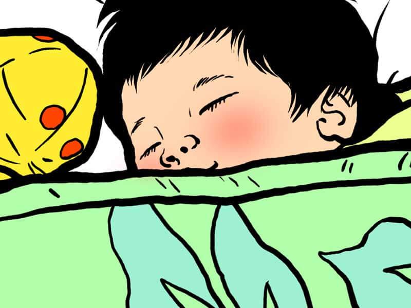 布団をかけて寝る赤ちゃんのイラスト