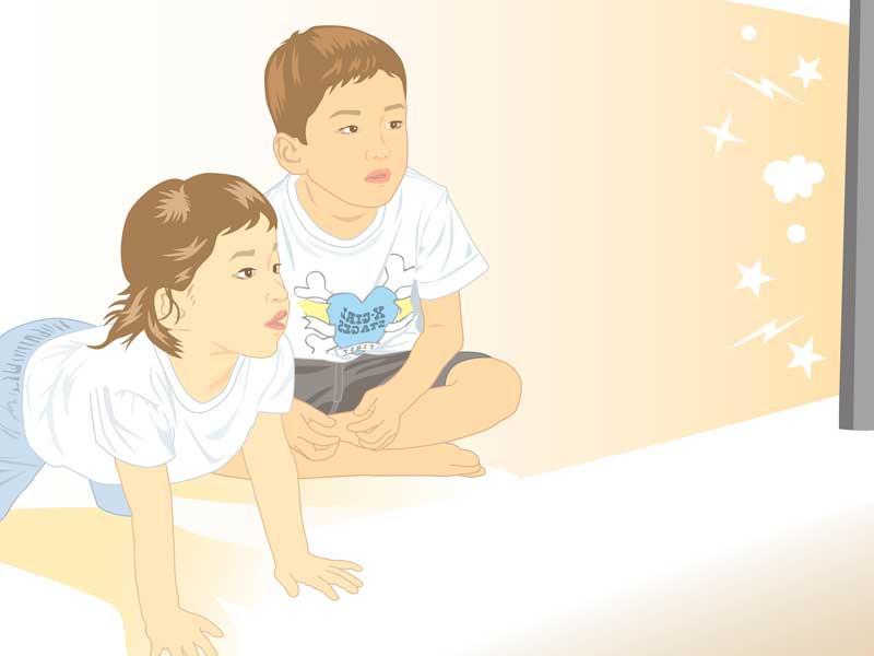 テレビを見る子供達のイラスト
