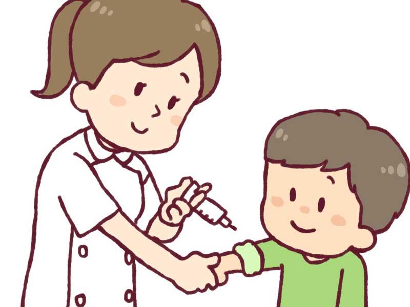 予防接種を受ける男の子のイラスト