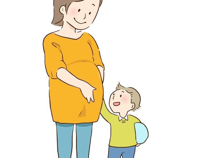 妊婦さんと男の子のイラスト