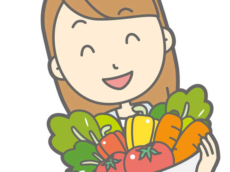 野菜を持つ妊婦さんのイラスト