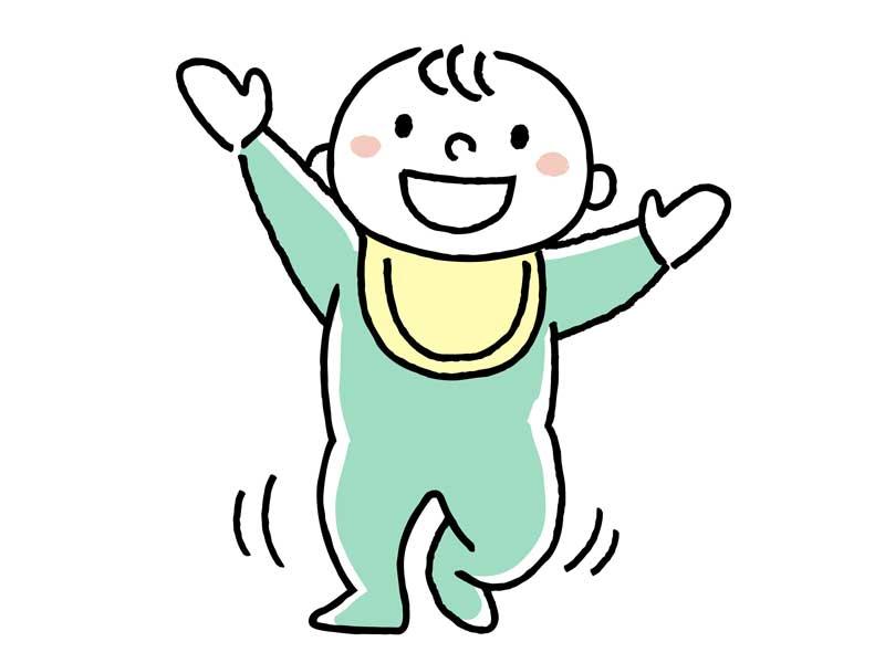 よちよち歩く赤ちゃんのイラスト