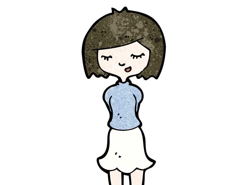 人見知りの女性のイラスト