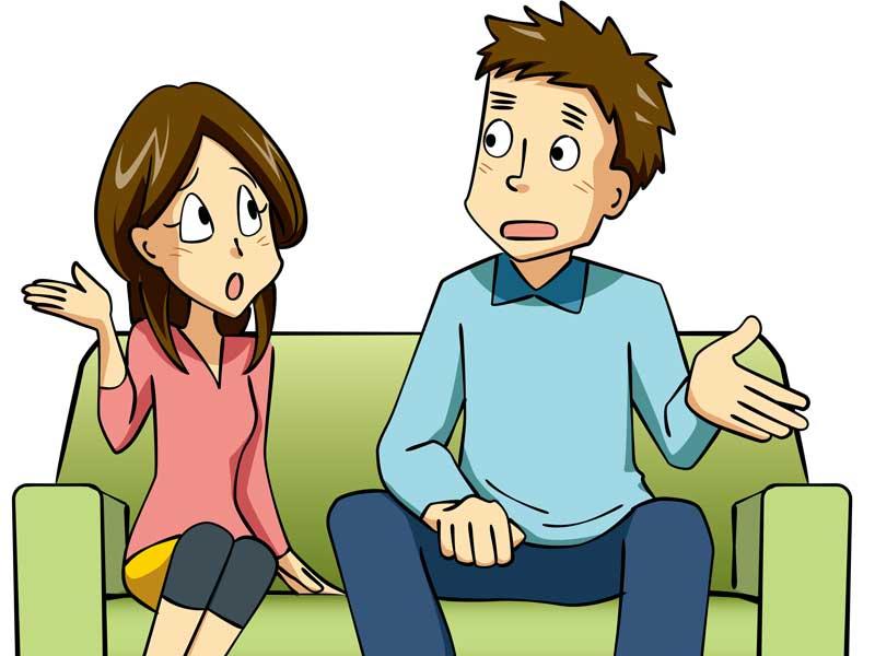 話し合いをしている夫婦のイラスト
