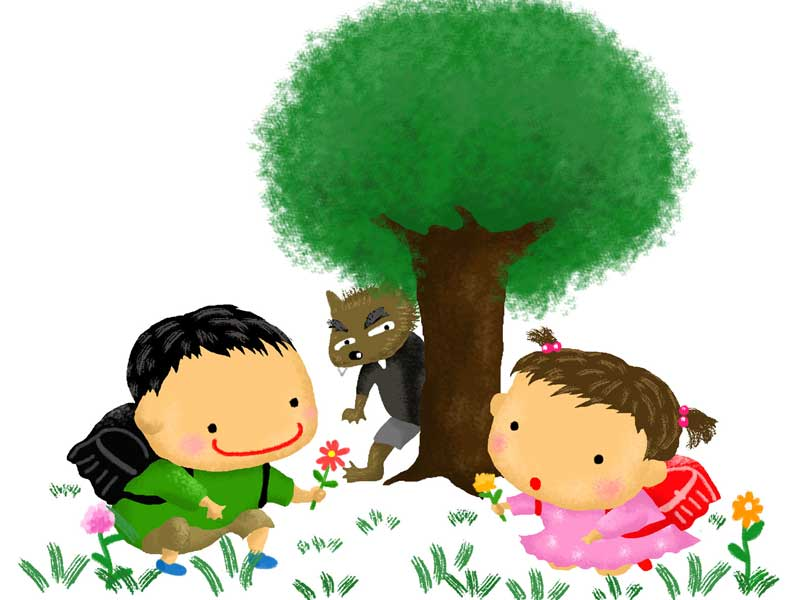 遊んでいる子供とオオカミのイラスト