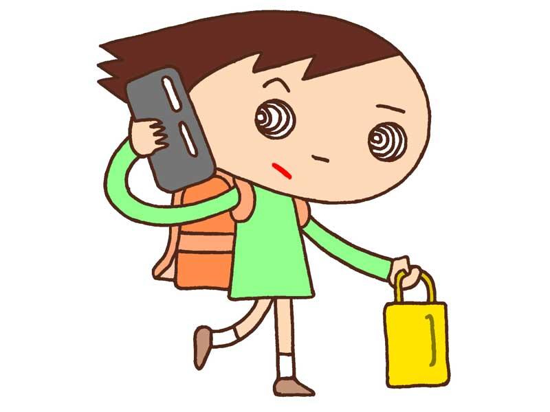 電話を掛ける小学生のイラスト