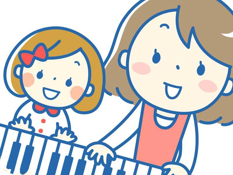ピアノを弾く親子のイラスト