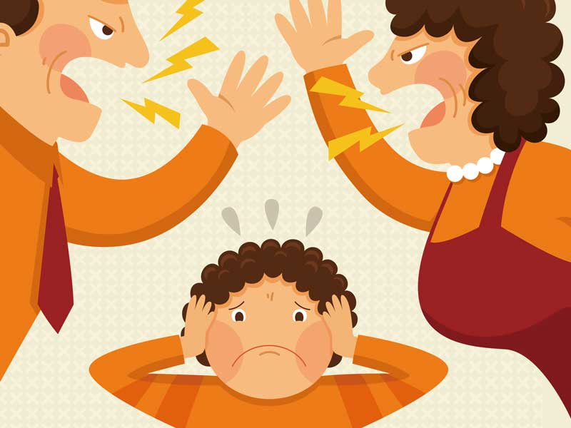 喧嘩をしている夫婦と耳を塞いでいる男の子のイラスト