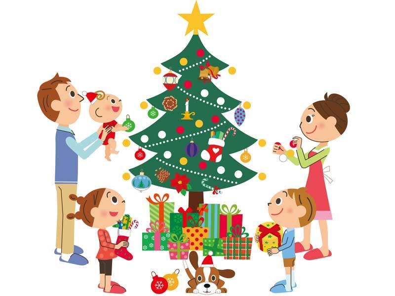 クリスマスツリーに飾り付けする家族のイラスト