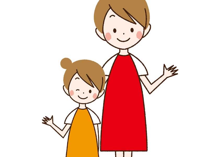 母と娘のイラスト