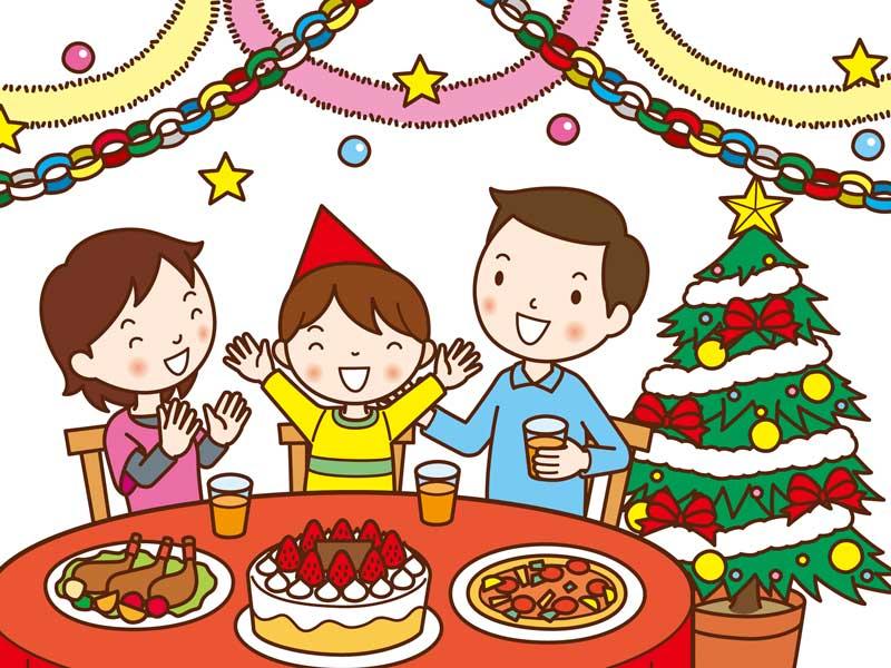 クリスマスパーティーをする家族のイラスト