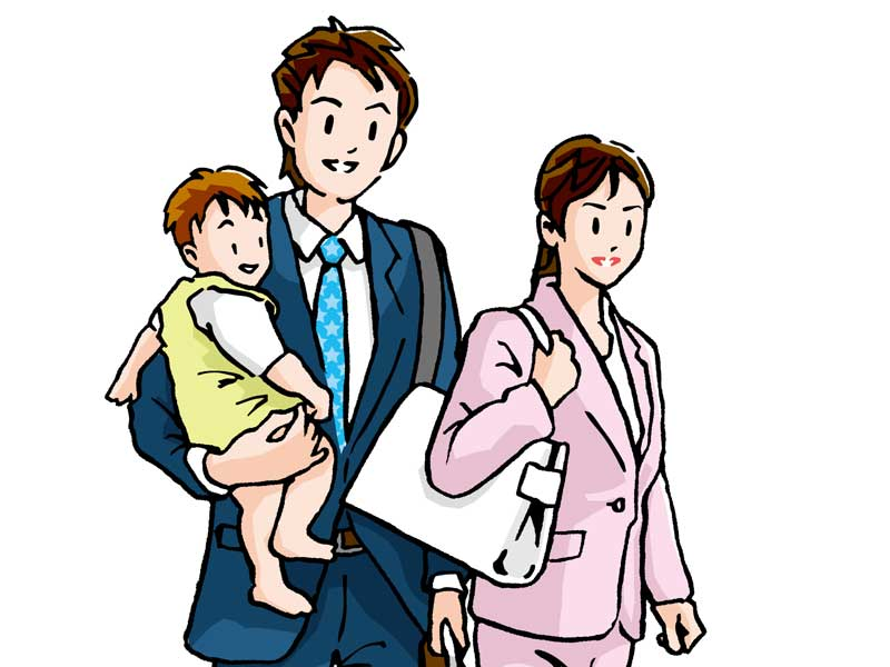 共働きの家族のイラスト