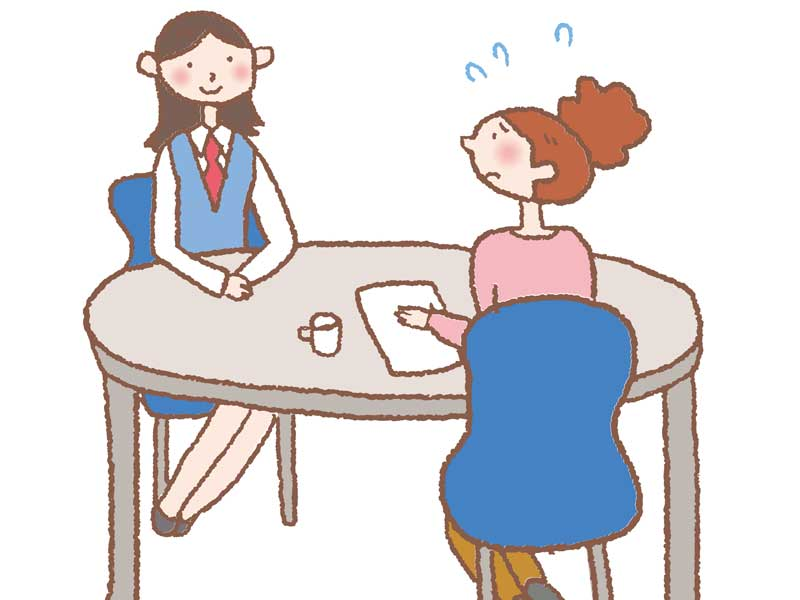 保険の相談をする女性のイラスト