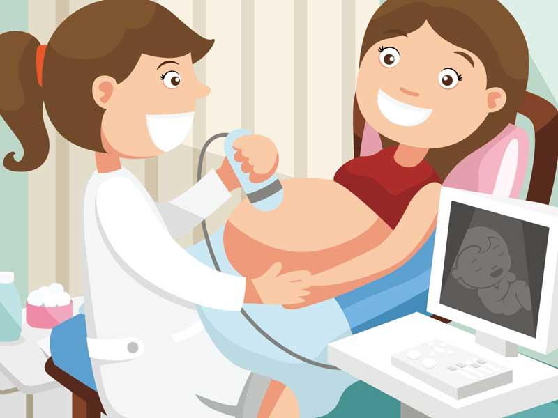 病院で妊婦健診を受けている妊婦さんのイラスト